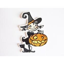 Patch thermocollant sorcière et citrouille Halloween