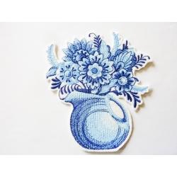 Appliqué thermocollant vase de fleurs bleues