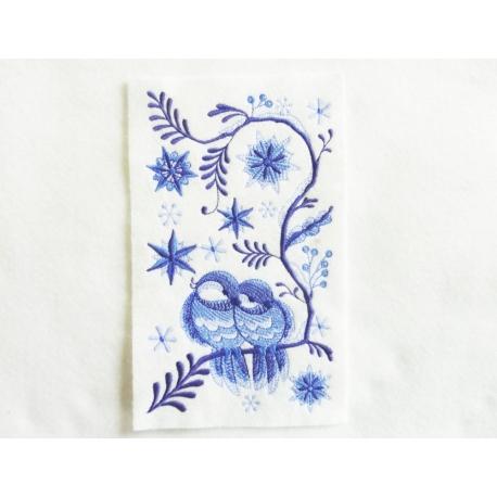 Appliqué thermocollant mesanges bleues en hiver