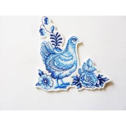 Appliqué thermocollant poule bleue