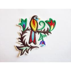 Broderie thermocollante oiseau multicolore