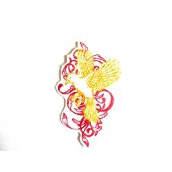 Broderie thermocollante oiseau jaune