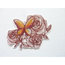 Appliqué thermocollant papillon et roses