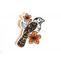 Broderie thermocollante oiseau peint et fleurs oranges