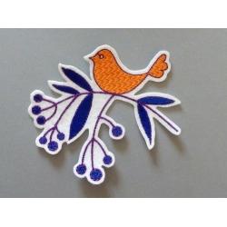 Broderie thermocollante oiseau sur une branche (orange)