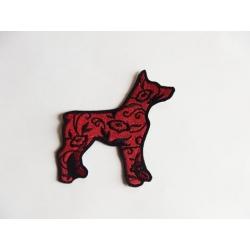 Appliqué silhouette chien fleuri