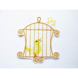 Appliqué fleur, patch cage et oiseau jaune
