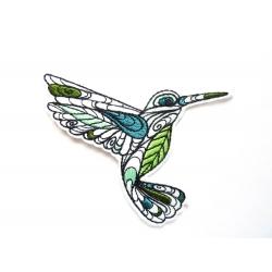 Appliqué thermocollant colibri doodle vert