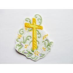 Appliqué thermocollant croix de Pâques avec lys