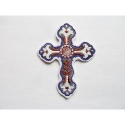 Appliqué thermocollant croix de Pâques avec lys arrondie