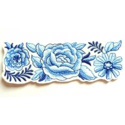 Appliqué fleur, patch rose bleue en frise