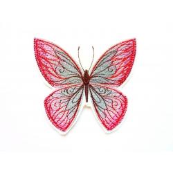 Broderie thermocollante papillon rose