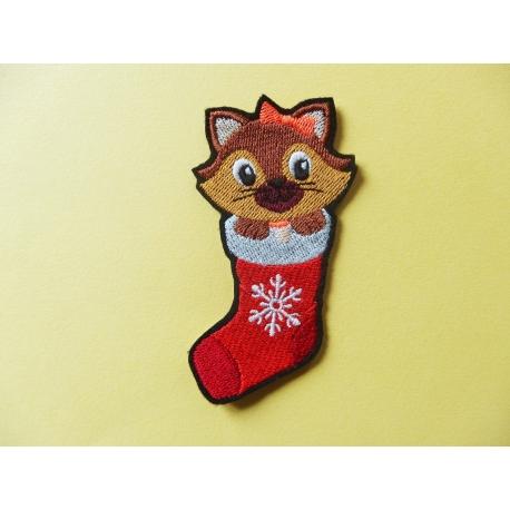 Ecusson, patch chatte dans une chaussette