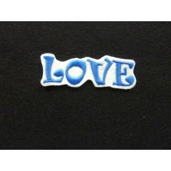 LOVE broderie thermocollante bleu