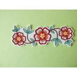 Appliqué patch thermocollant bordure fleurs et feuilles