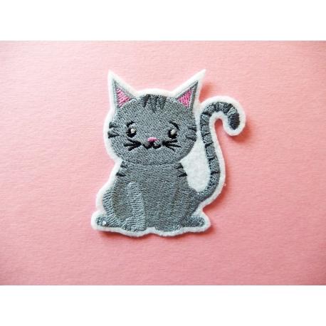 Ecusson, patch chat gris