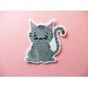 Ecusson, patch thermocollant chat gris (cat)