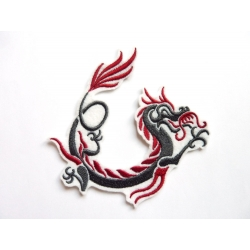Ecusson broderie dragon gris et rouge
