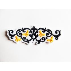 Appliqué patch thermocollant frise grille et papillons jaunes
