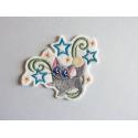 Ecusson, patch chat étoiles et arabesques