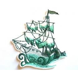Appliqué thermocollant voilier voiles déchirées vert