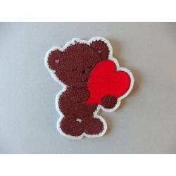 Appliqué ours, patch thermocollant ourson et coeur rouge