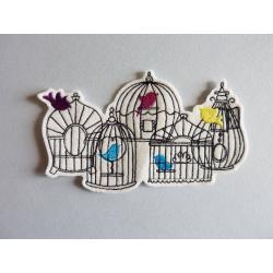 Appliqué oiseau, patch cage et silhouettes d'oiseaux
