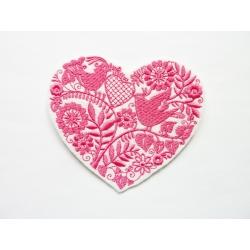 Ecusson coeur et oiseau rose