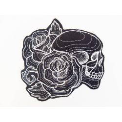 Ecusson thermocollant tête de mort de profil et roses