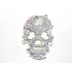 Patch thermocollant tête de mort rose et grise