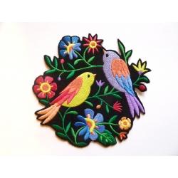 Ecusson thermocollant oiseaux et fleurs multicolores