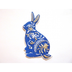 Patch thermocollant lapin bleu fleuri