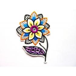 Ecusson fleur noire et multicolore