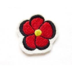 Appliqué thermocollant petite fleur rouge, noir et jaune
