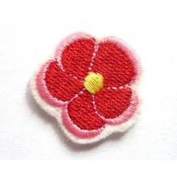 Ecusson thermocollant petite fleur rouge , rose, jaune
