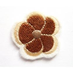 Appliqué thermocollant petite fleur marron, beige clair et taupe clair