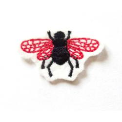 Appliqué thermocollant petite mouche rouge et noire