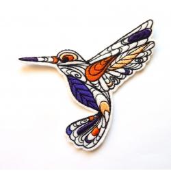Appliqué thermocollant colibri doodle tourné vers la droite