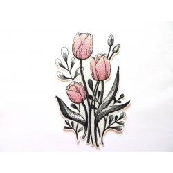 Ecusson bouquet de tulipes roses