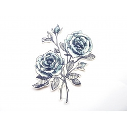 Ecusson thermocollant roses bleues (fleur)