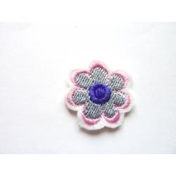 Ecusson thermocollant petite fleur grise, rose et violette