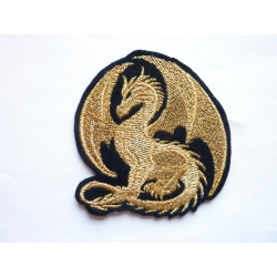 Patch thermocollant dragon fil métallique doré