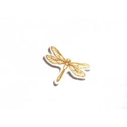 Appliqué thermocollant libellule fil métallique