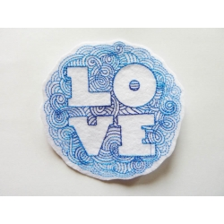 Appliqué patch thermocollant love en rond