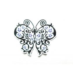 Appliqué thermocollant papillon et fleurs