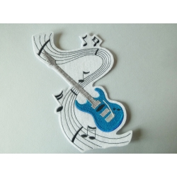 Grand patch guitare bleue thermocollante