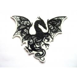 Patch thermocollant dragon toile noire