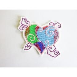 Appliqué patch thermocollant coeur bleu et vert