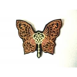 Appliqué thermocollant papillon clé steampunk