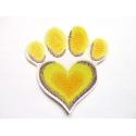 Broderie patch thermocollant patte de chien en coeur